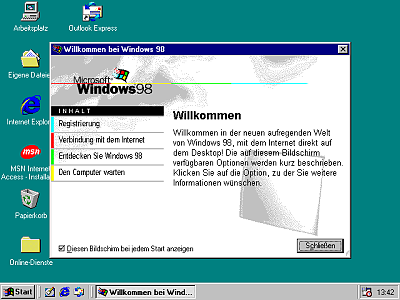 Das Desktop von Windows 98