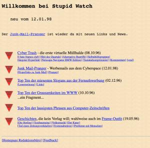 Alte Website von 1998 mit Listicle